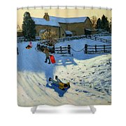 Children Sledging Shower Curtain