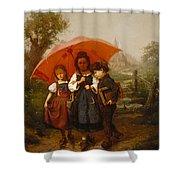 Children Under A Red Umbrella Shower Curtain