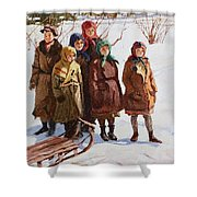 Children With A Sled Nikolai Petrovich Bogdanov-belsky Shower Curtain