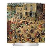 Children's Games Shower Curtain by Pieter the Elder Bruegel