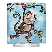 Childrens Whimsical Nursery Art Original Monkey Painting Monkey Buttons By Madart Shower Curtain