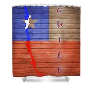 Chile Rustic Map On Wood Shower Curtain