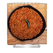 Chili In Black Pan On Wood Table With Jalapeno Pepper Shower Curtain