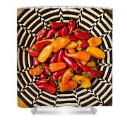 Chili Peppers In Basket  Shower Curtain