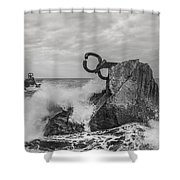 Chillidas Comb Of The Wind In San Sebastian Basque Country Spain  Shower Curtain