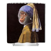 Chimp With A Pearl Earring Shower Curtain