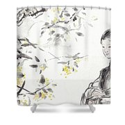 China Ancient Female Shower Curtain
