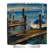 China Basin Docks Shower Curtain