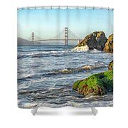 China Beach To The Golden Gate Shower Curtain