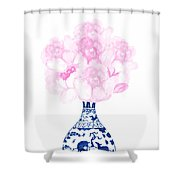 China Blue Ming Vase With Peony Shower Curtain