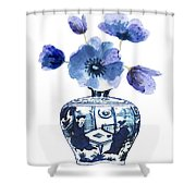 China Blue Vase  With Poppy Flower Shower Curtain