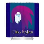 China Girl Blue Shower Curtain
