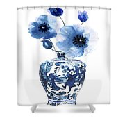 China Ming Vase With Flower Shower Curtain