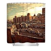 Chinatown Rooftop Graffiti And The Brooklyn Bridge - New York City Shower Curtain