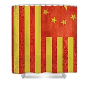 Chinese American Flag Vertical Shower Curtain