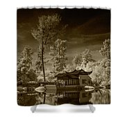 Chinese Botanical Garden In California With Koi Fish In Sepia Tone Shower Curtain