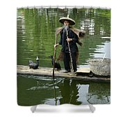 Chinese Cormorant Fisherman Shower Curtain