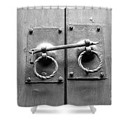 Chinese Door And Lock - Black And White Shower Curtain