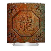 Chinese Dragon Character In An Octagon Frame With Dragons In Four Corners Soft Light Shower Curtain