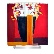 Chinese Flower On Vase Shower Curtain