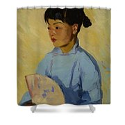 Chinese Girl With Fan 1914  Shower Curtain