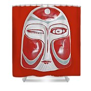 Chinese Porcelain Mask Red Shower Curtain
