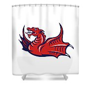 Chinese Red Dragon Angry Isolated Retro Shower Curtain