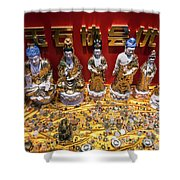 Chinese Religious Trinkets And Statues On Display In Xiamen Chin Shower Curtain