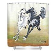Chinese Running Horses Shower Curtain