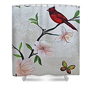 Chinoiserie - Magnolias And Birds #3 Shower Curtain