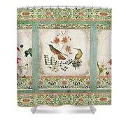 Triptych - Chinoiserie Vintage Hummingbirds N Flowers Shower Curtain