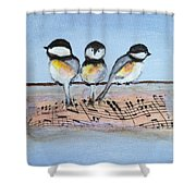 Chirpy Chickadees Shower Curtain
