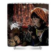 Cho Chin Woman Smoking  Shower Curtain