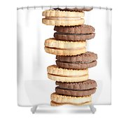Chocolate And Vanilla Creamed Filled Cookies  Shower Curtain