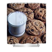 Chocolate Chip Cookies And Glass Of Milk Shower Curtain