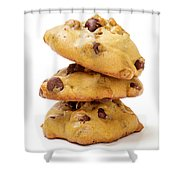 Chocolate Chip Cookies Isolated On White Background Shower Curtain