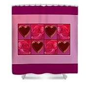 Chocolate Hearts And Roses Shower Curtain