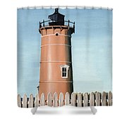 Chocolate Lighthouse Shower Curtain
