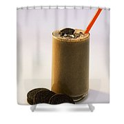 Chocolate Milk With Cookies Shower Curtain