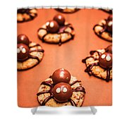 Chocolate Peanut Butter Spider Cookies Shower Curtain