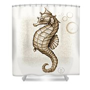 Chocolate Seahorse Shower Curtain