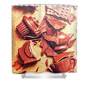 Chocolate Tableware Destruction Shower Curtain