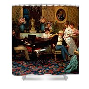Chopin Playing The Piano In Prince Radziwills Salon Shower Curtain