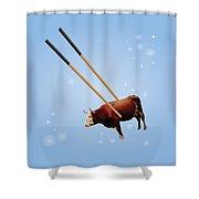 Chopsticks Cow Blue Stars Shower Curtain