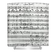 Chorus Of Shepherds, Handwritten Score Of The Opera Ascanio In Alba Shower Curtain