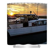 Chris Craft In The Evening  Shower Curtain
