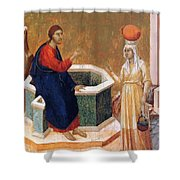 Christ And The Samaritan Woman Fragment 1311 Shower Curtain