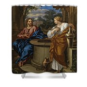 Christ And The Woman Of Samaria Shower Curtain
