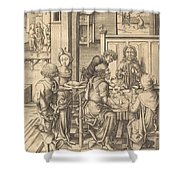Christ At Emmaus Shower Curtain