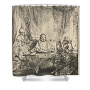 Christ At Emmaus: The Larger Plate Shower Curtain